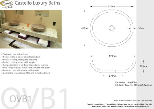 Luxury basins and vanity tops