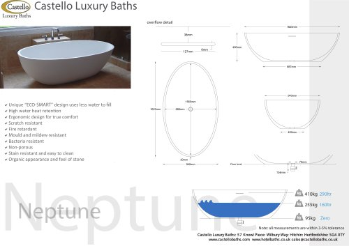 NEPTUNE FREESTANDING SLIMLINE LUXURY DESIGNER BATH