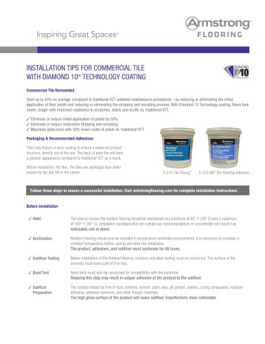 INSTALLATION TIPS FOR COMMERCIAL TILE WITH DIAMOND 10® TECHNOLOGY COATING