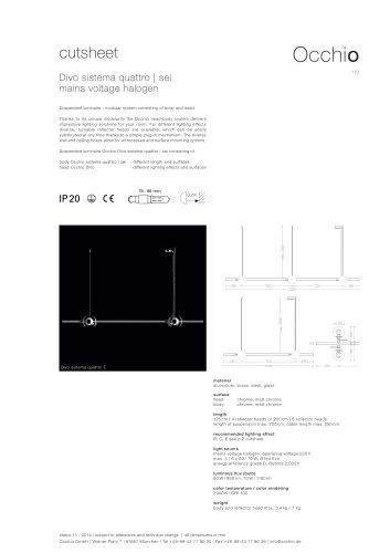 cutsheet Divo sistema quattro | sei mains voltage halogen