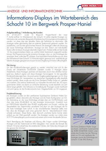 Informations-Displays im Wartebereich des Schacht 10 im Bergwerk Prosper-Haniel