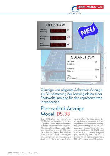 Photovoltaik-Anzeige Modell DS.38