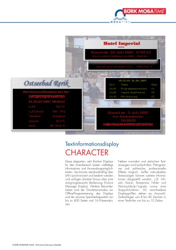 Textinformationsdisplay CHARACTER