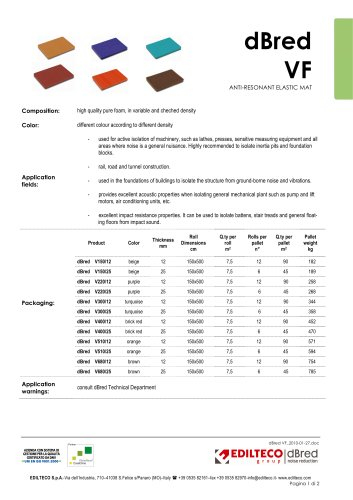"technical data sheet dBred ""VF"" range"
