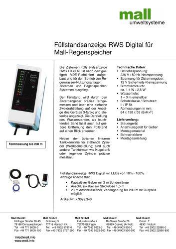 Füllstandsanzeige RWS Digital für Mall-Regenspeicher