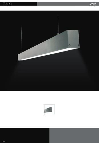 Fluorescent suspended luminaire T-UNI