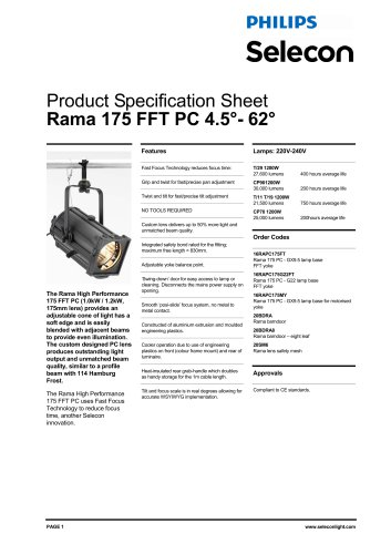 Rama PC / Fresnel - 175mm High Performance Fast Fit Technology PC 4.5-62 Degree (230V) a