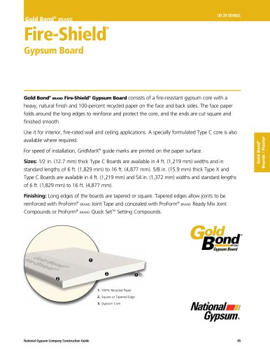 Gold Bond® brand Fire-Shield® Gypsum Board