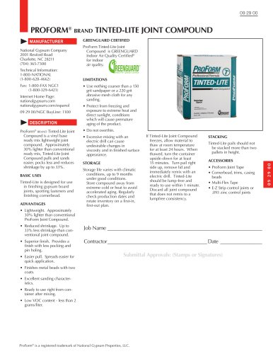 ProForm Tinted Lite Joint Compound Submittal