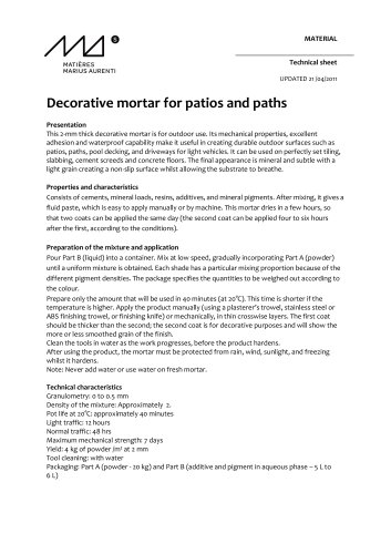 Decorative mortar for patios and paths
