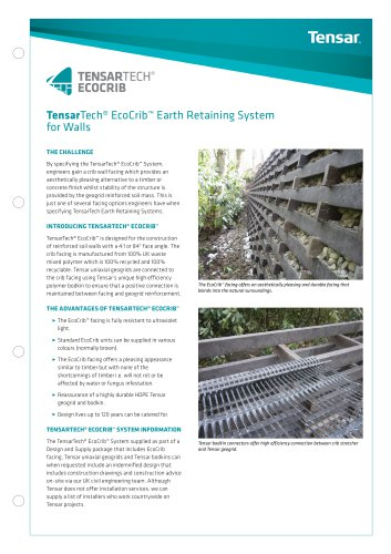 TensarTech EcoCrib Earth Retaining System For Walls - See more at: http://www.tensar.co.uk/Downloads?currentPage=2&subPath=Brochures&languageFilter=English&typeFilter=Tensar+Marketing+Brochure+(EMEA)#sthash.okicHqOK.dpuf