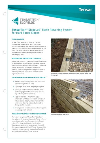 TensarTech® SlopeLoc Earth Retaining System for Hard Faced Slopes