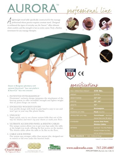 Aurora Massage Table-Essential Package
