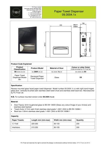 Glass Faced Paper Towel Dispenser