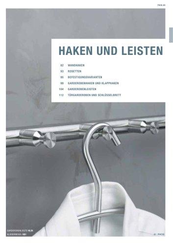 Wandhaken + Garderobenleisten Edelstahl-Design