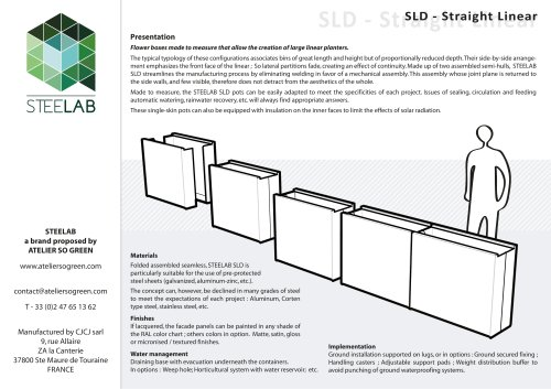 SLD Steelab planters Straight Linear
