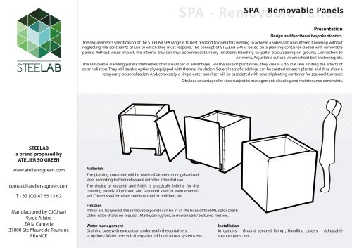 SPA Steelab planters Removable panels