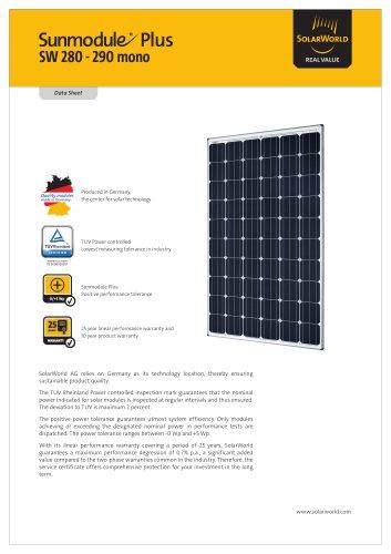 Sunmodule Plus SW 280-290 mono