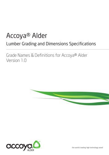 Accoya® Alder Lumber Grading and Dimensions Specifications