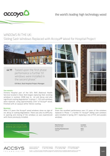 Sliding Sash Windows Replaced with Accoya® Wood for hospital Project