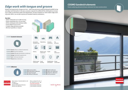 Thermally insulated sandwich elements for widening the profile in window construction