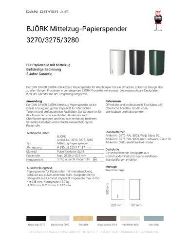 BJÖRK Mittelzug-Papierspender, Datenblatt
