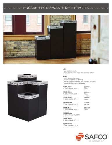 SQUARE-FECTA® WASTE RECEPTACLES