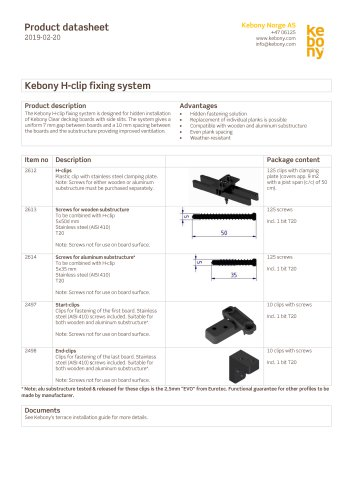 Kebony H-clip fixing system