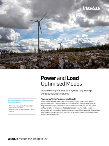Power and Load Optimised Modes