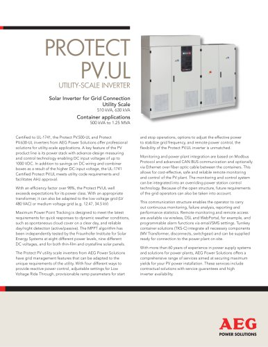 PROTECT PV.UL UTILITY-SCALE INVERTER