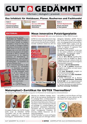 """GUTEX Kundenzeitschrift """"Gut Gedämmt"""" Ausgabe"""