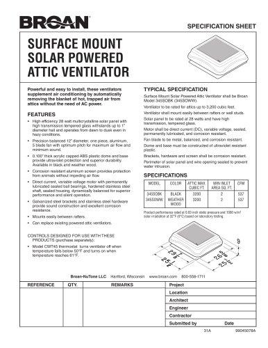 SURFACE MOUNT SOLAR POWERED ATTIC VENTILATOR
