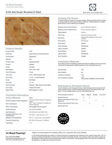 A104 Oak Rustic Brushed & Oiled