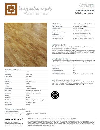 A305 Oak Rustic 3-Strip Lacquered